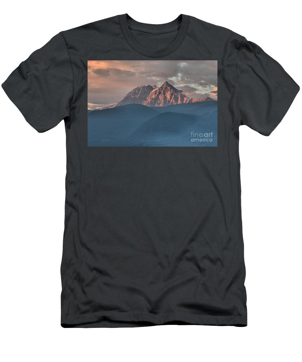British Columbia Sunset Men's T-Shirt (Athletic Fit) featuring the photograph Canadian Coastal Mountains Sunset by Adam Jewell