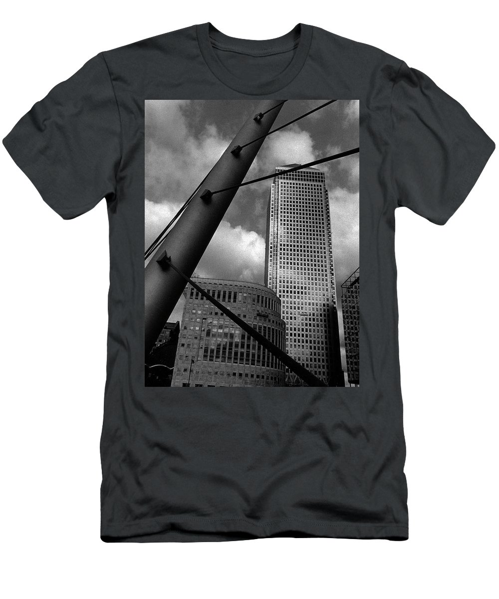 Canary Wharf Men's T-Shirt (Athletic Fit) featuring the photograph Canary Wharf London by David Rives