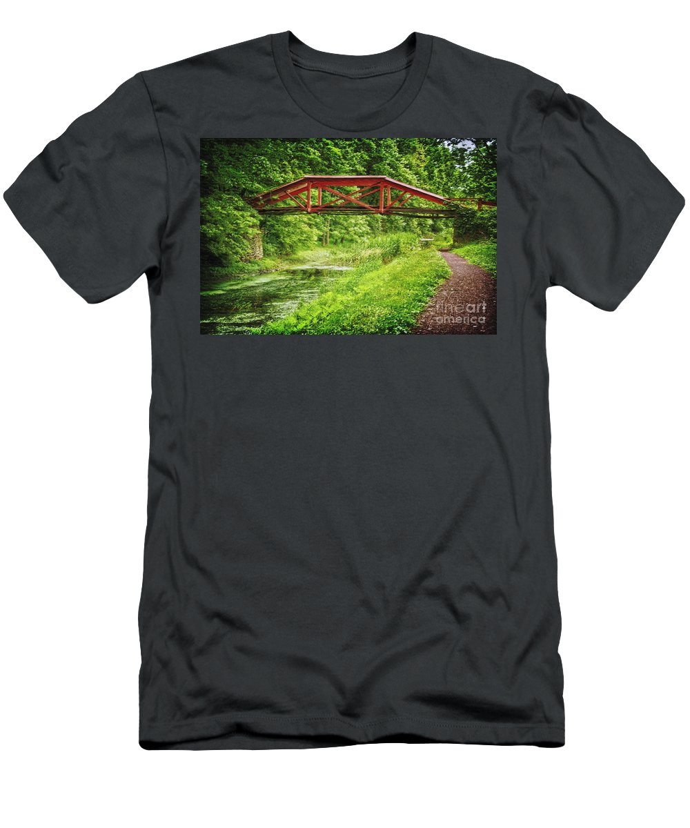 Delaware Canal Men's T-Shirt (Athletic Fit) featuring the photograph Canal Bridge by Debra Fedchin