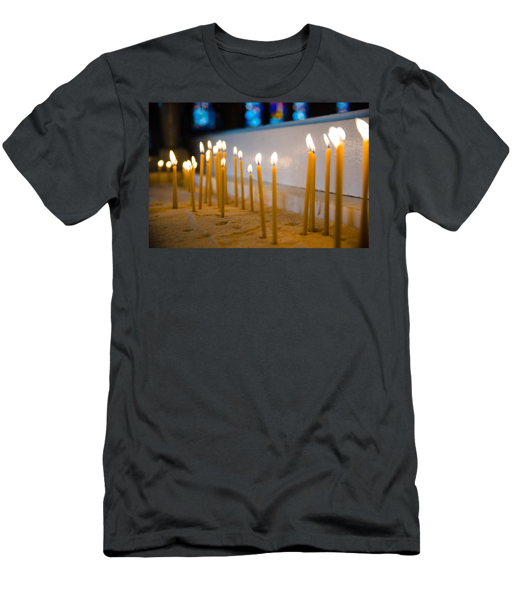 Church Men's T-Shirt (Athletic Fit) featuring the photograph candles in the Catholic Church shallow depth of field by Alex Grichenko