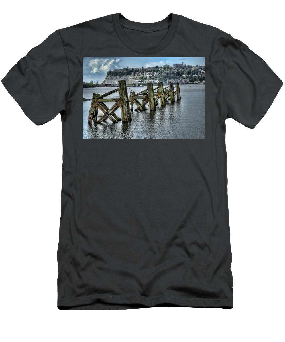 Cardiff Bay Jetty Men's T-Shirt (Athletic Fit) featuring the photograph Cardiff Bay Old Jetty Supports by Steve Purnell