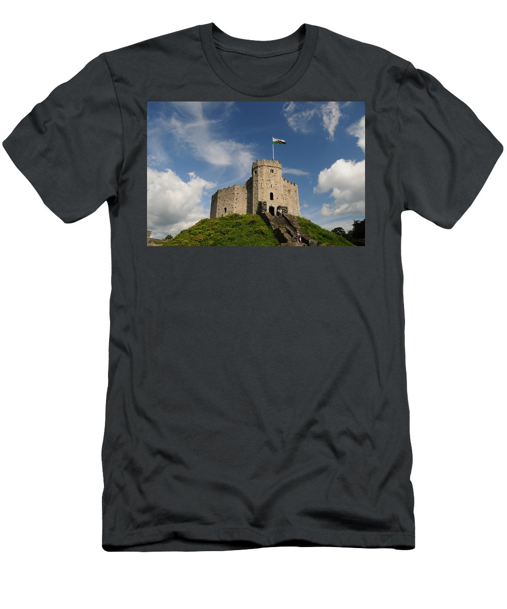 Cardiff Men's T-Shirt (Athletic Fit) featuring the photograph Cardiff Castle Keep by Jeremy Voisey