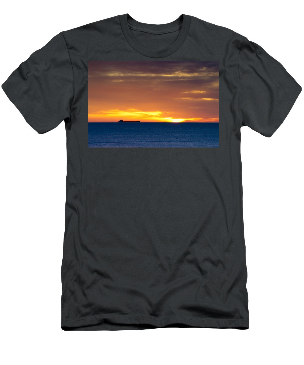 Boat Men's T-Shirt (Athletic Fit) featuring the photograph Cargo Ship On Horizon At Dawn by David Head