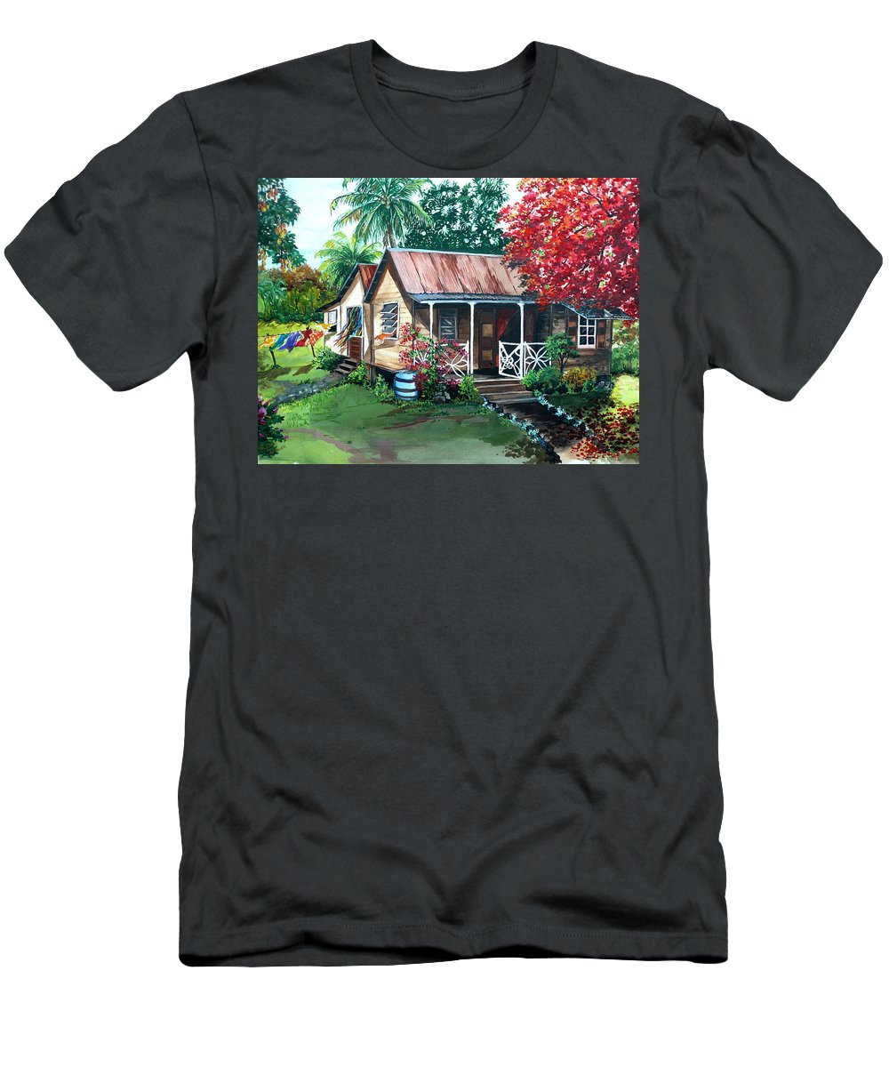 House Painting Caribbean Painting Tropical Painting West Indian Painting Old House Painting Flamboyant Tree Painting Poinciana Painting Red Painting Mango Tree Painting Watercolor Painting Greeting Card Painting T-Shirt featuring the painting Caribbean Life by Karin Dawn Kelshall- Best