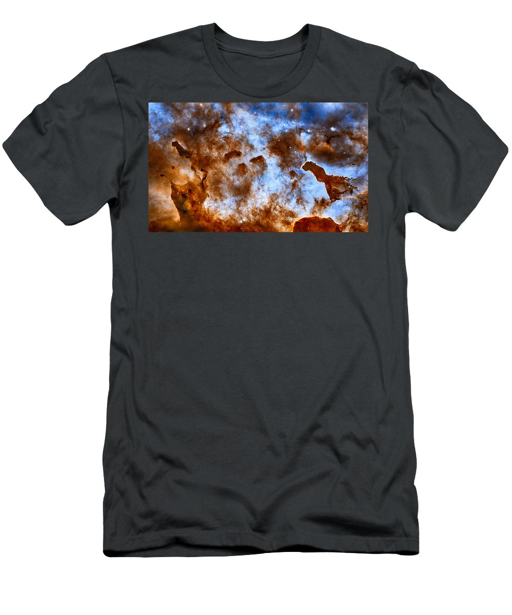 Carina Men's T-Shirt (Athletic Fit) featuring the photograph Carina Nebula-dust Pillars by Eti Reid