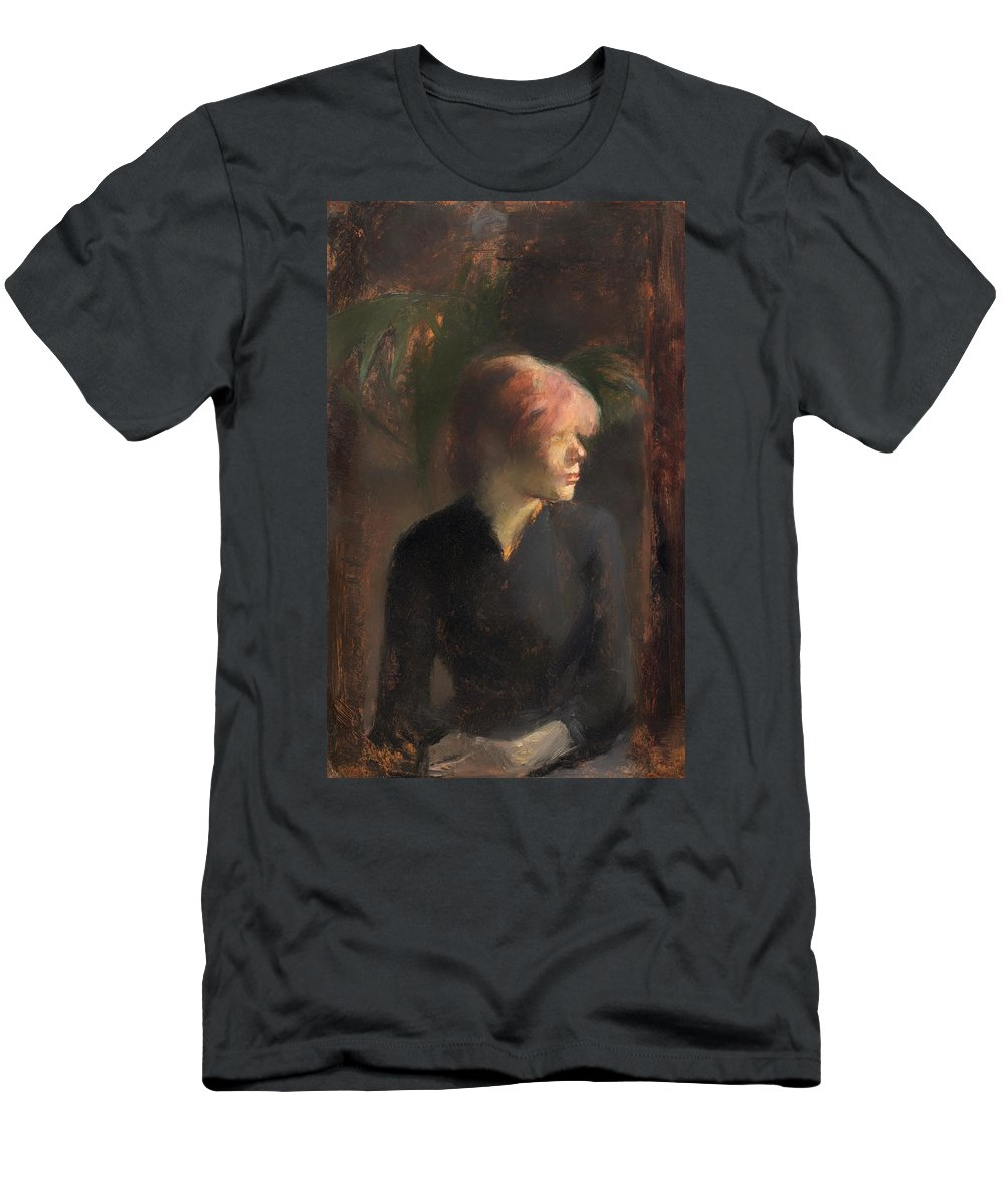 Portait Men's T-Shirt (Athletic Fit) featuring the painting Carmen Guadin by Mountain Dreams