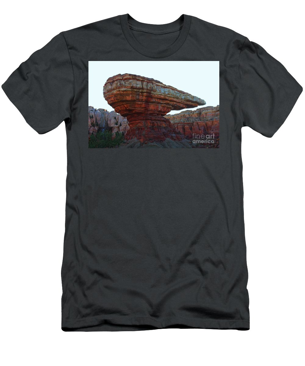 Disney California Adventure Men's T-Shirt (Athletic Fit) featuring the photograph Cars Land Canyon by Tommy Anderson