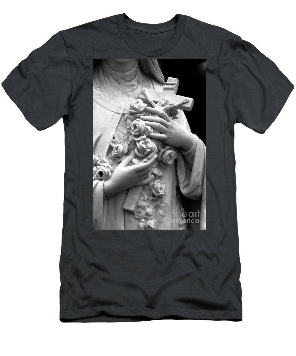 Statue; Marble; Mary; Holding; Love; Roses; Bouquet; Cascade; Nun; Cross; Jesus; Religious; Religion; Hands; Torso; Love Men's T-Shirt (Athletic Fit) featuring the photograph Cascade by Margie Hurwich