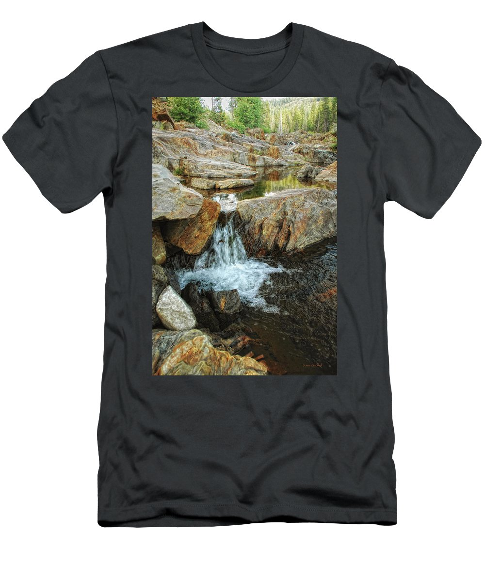 Yuba River Men's T-Shirt (Athletic Fit) featuring the photograph Cascading Downward by Donna Blackhall