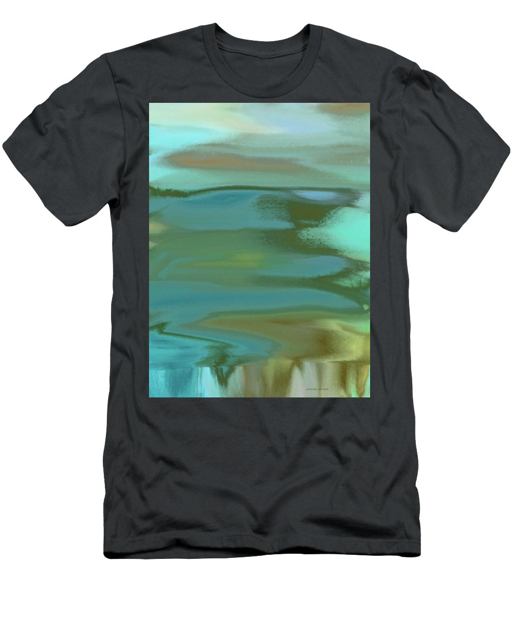 Abstract Men's T-Shirt (Athletic Fit) featuring the painting Cascading by Lenore Senior
