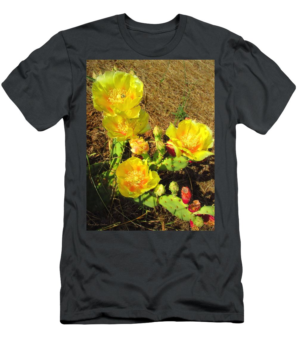 Prickly-pear Men's T-Shirt (Athletic Fit) featuring the photograph Cascading Prickly Pear Blossoms by Joyce Dickens