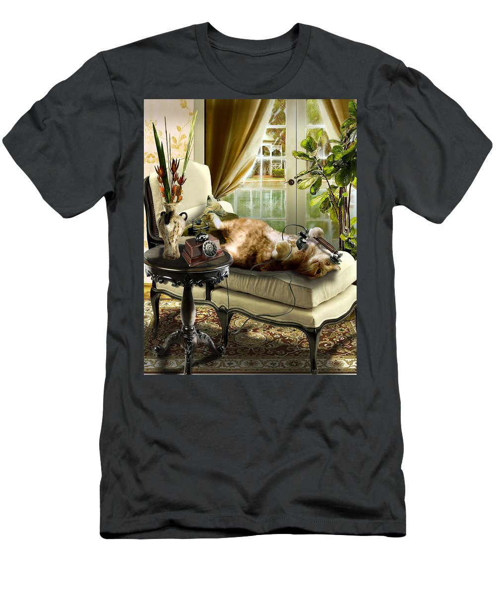 Pet Cat Painting T-Shirt featuring the painting Funny pet talking on the phone by Regina Femrite
