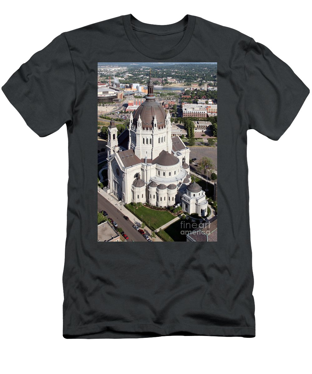 Aerial Men's T-Shirt (Athletic Fit) featuring the photograph Cathedral Of St. Paul by Bill Cobb