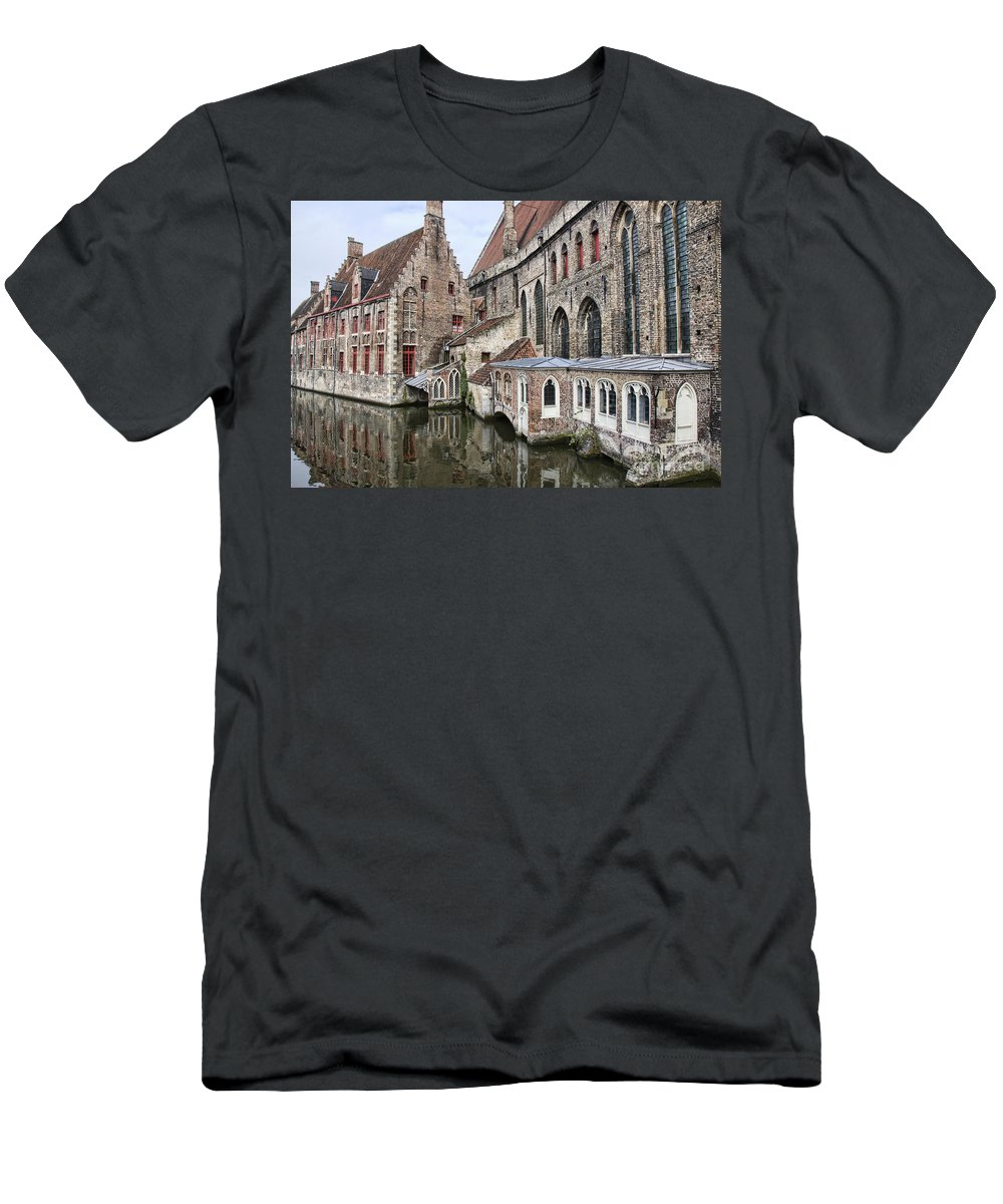 Europe Men's T-Shirt (Athletic Fit) featuring the photograph Cathedral Reflection by Crystal Nederman