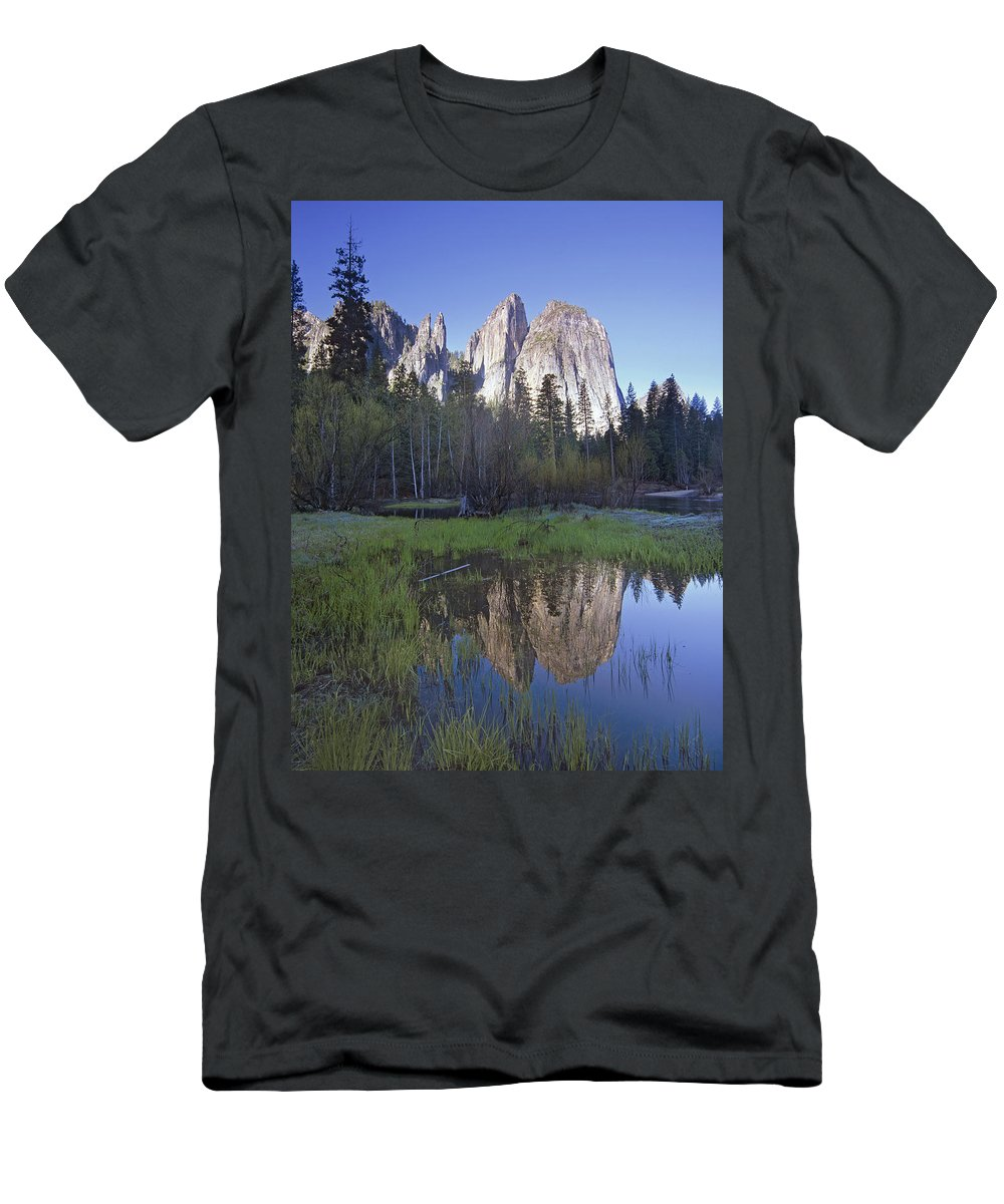 Feb0514 Men's T-Shirt (Athletic Fit) featuring the photograph Cathedral Rock And The Merced River by Tim Fitzharris