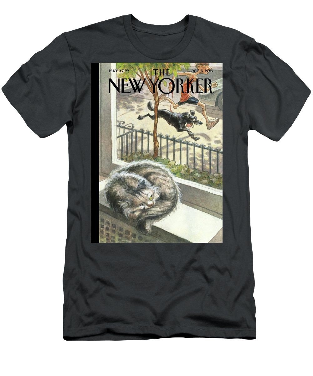Cat T-Shirt featuring the painting Catnap by Peter de Seve