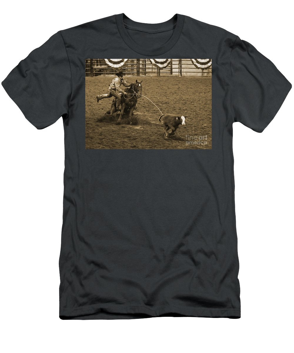 Western Men's T-Shirt (Athletic Fit) featuring the photograph Cattle Roping In Colorado by Janice Pariza
