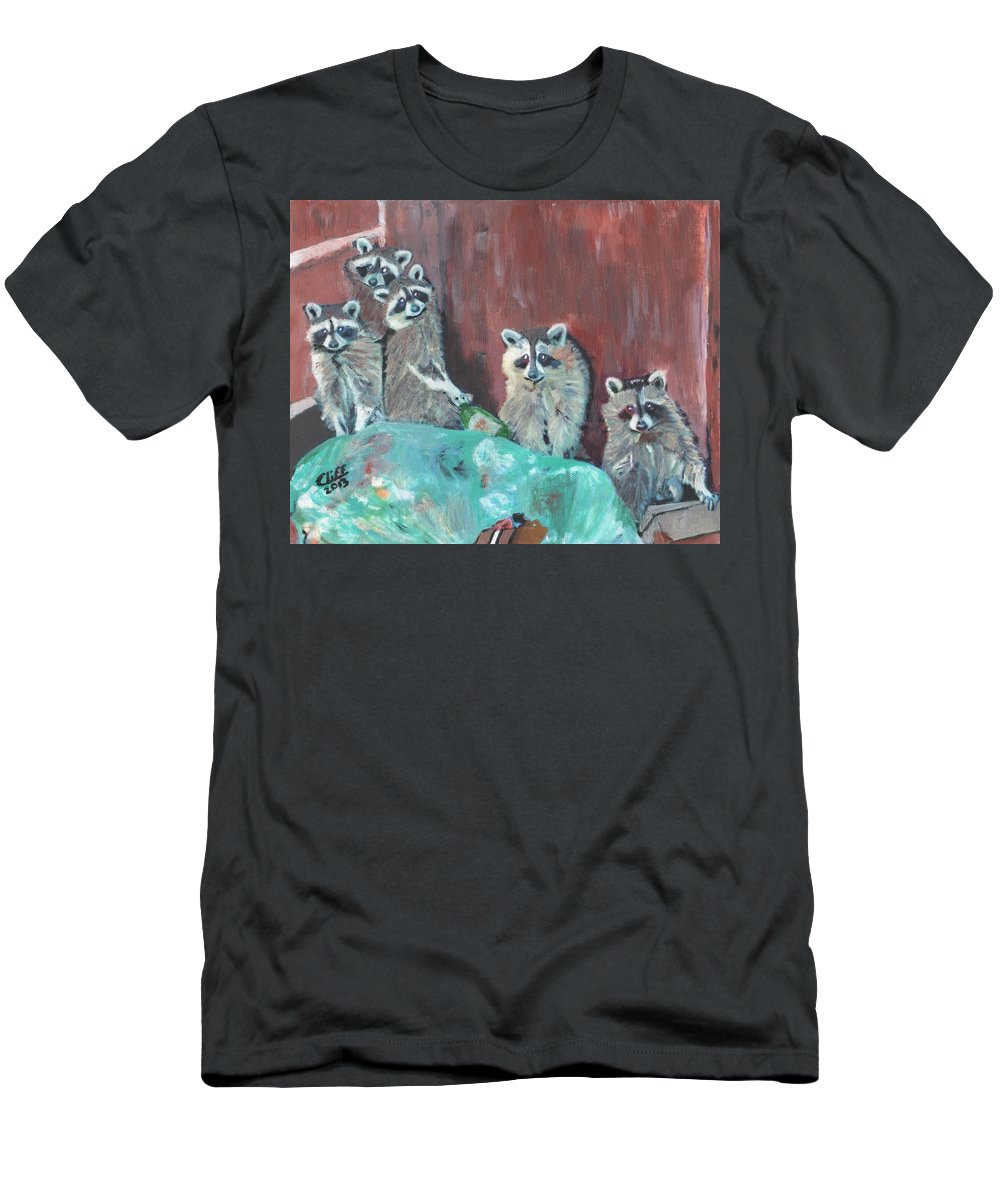Raccoons Men's T-Shirt (Athletic Fit) featuring the painting Caught by Cliff Wilson