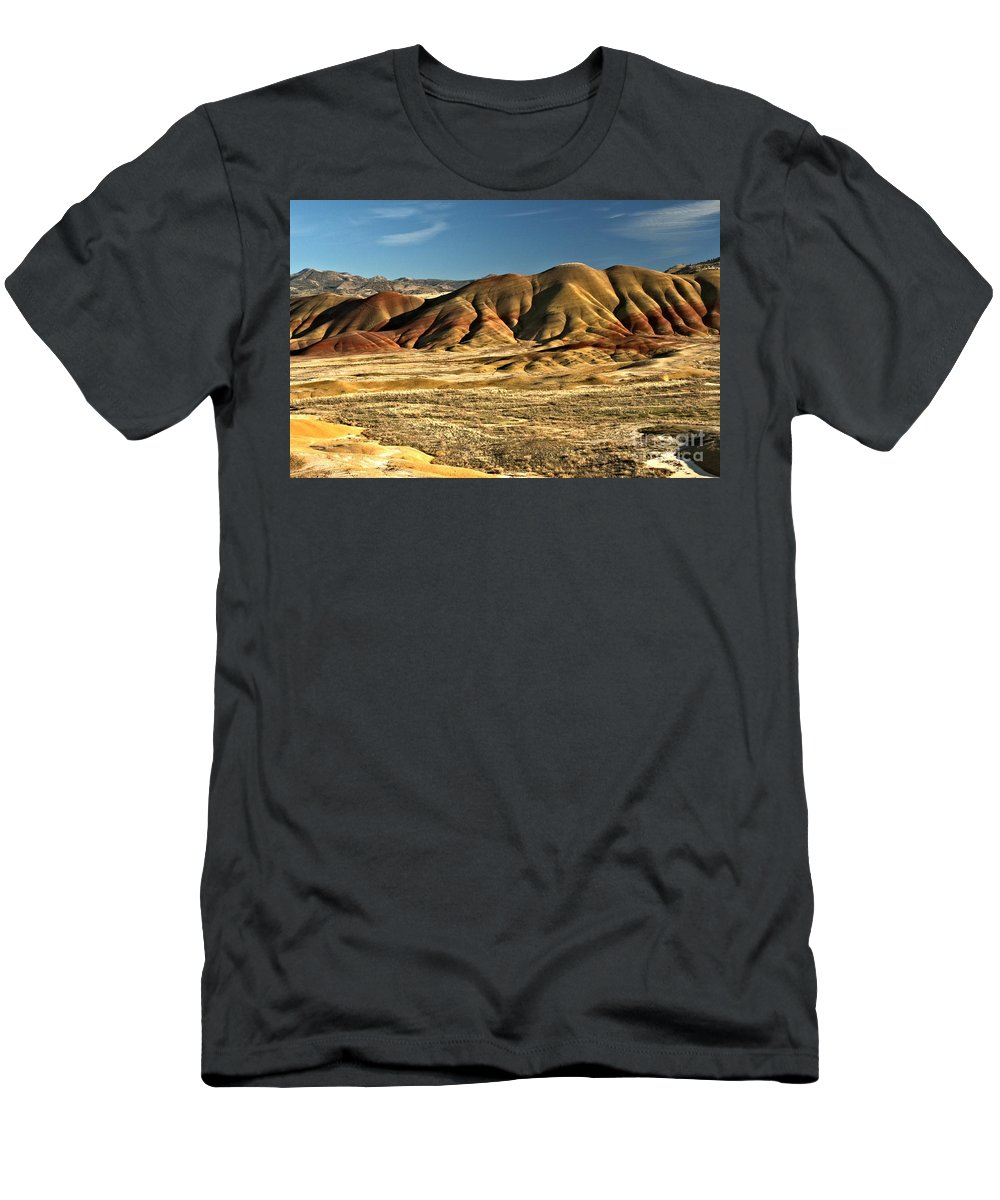 Painted Hills Men's T-Shirt (Athletic Fit) featuring the photograph Central Oregon Painted Hills by Adam Jewell