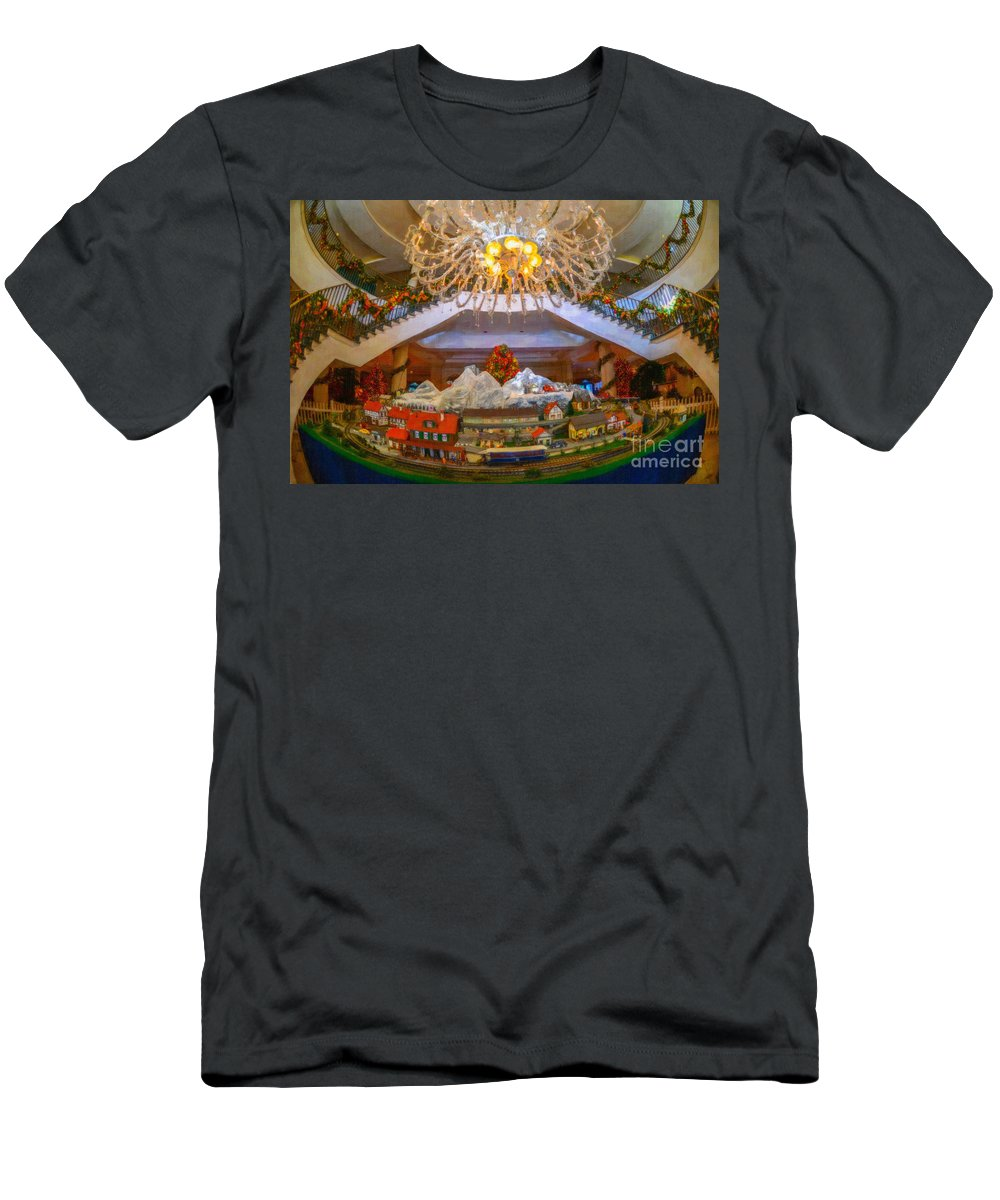 Train Men's T-Shirt (Athletic Fit) featuring the digital art Charleston Place At Christmas by Dale Powell