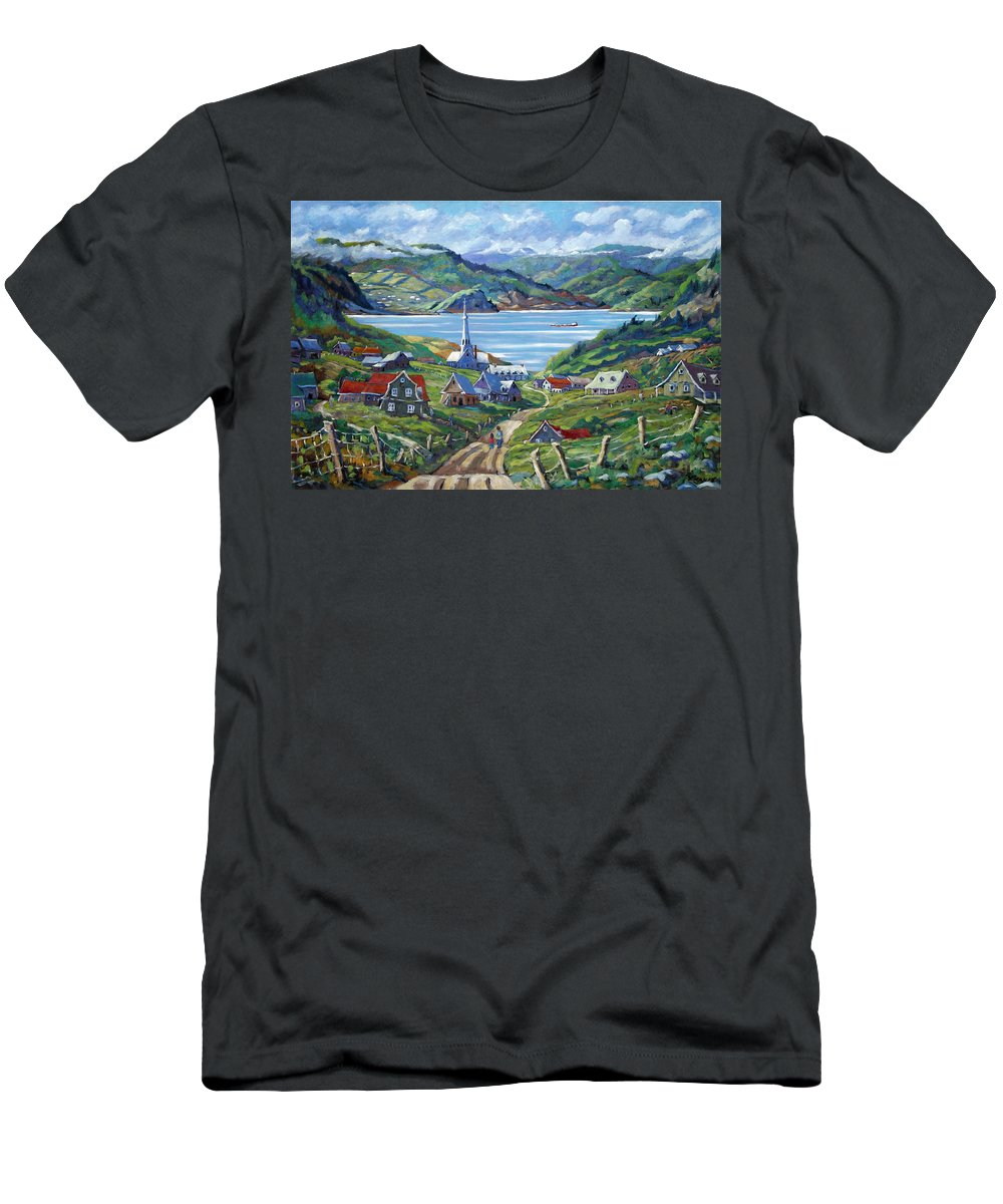 Men's T-Shirt (Athletic Fit) featuring the painting Charlevoix Scene by Richard T Pranke