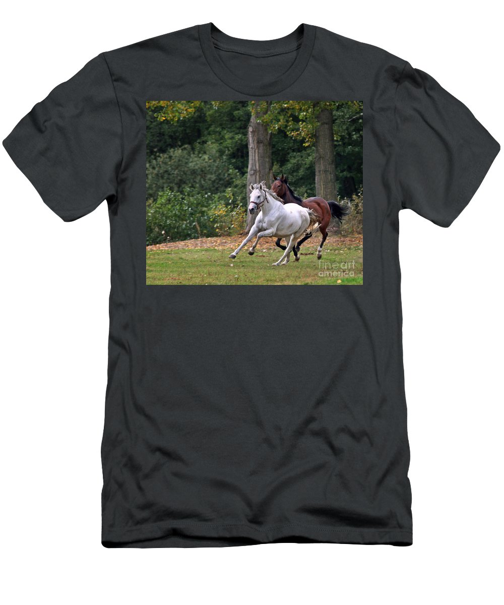 Horse Men's T-Shirt (Athletic Fit) featuring the photograph Chasing The Wind by Angel Ciesniarska
