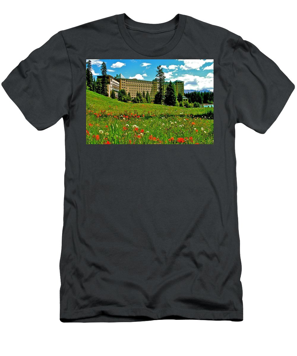Chateau Lake Louise In Banff National Park Men's T-Shirt (Athletic Fit) featuring the photograph Chateau Lake Louise In Banff Np-alberta by Ruth Hager