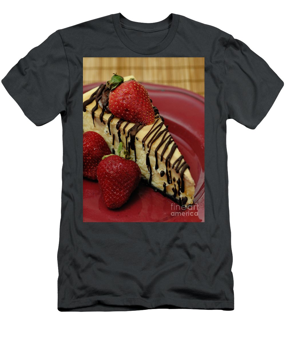 Calories Men's T-Shirt (Athletic Fit) featuring the photograph Cheesecake With Strawberries by Amy Cicconi