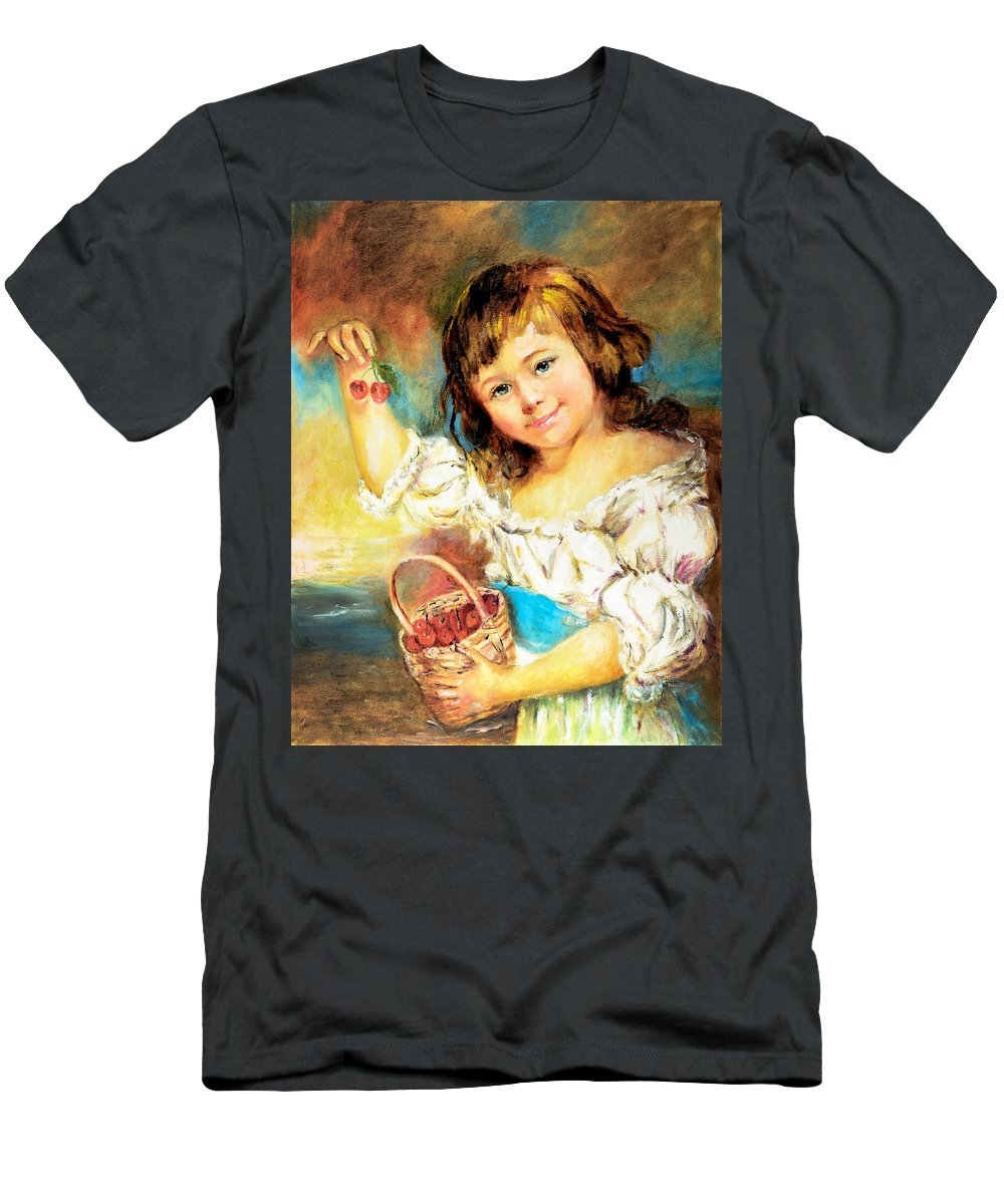 Girl Men's T-Shirt (Athletic Fit) featuring the painting Cherry Basket Girl by Sher Nasser