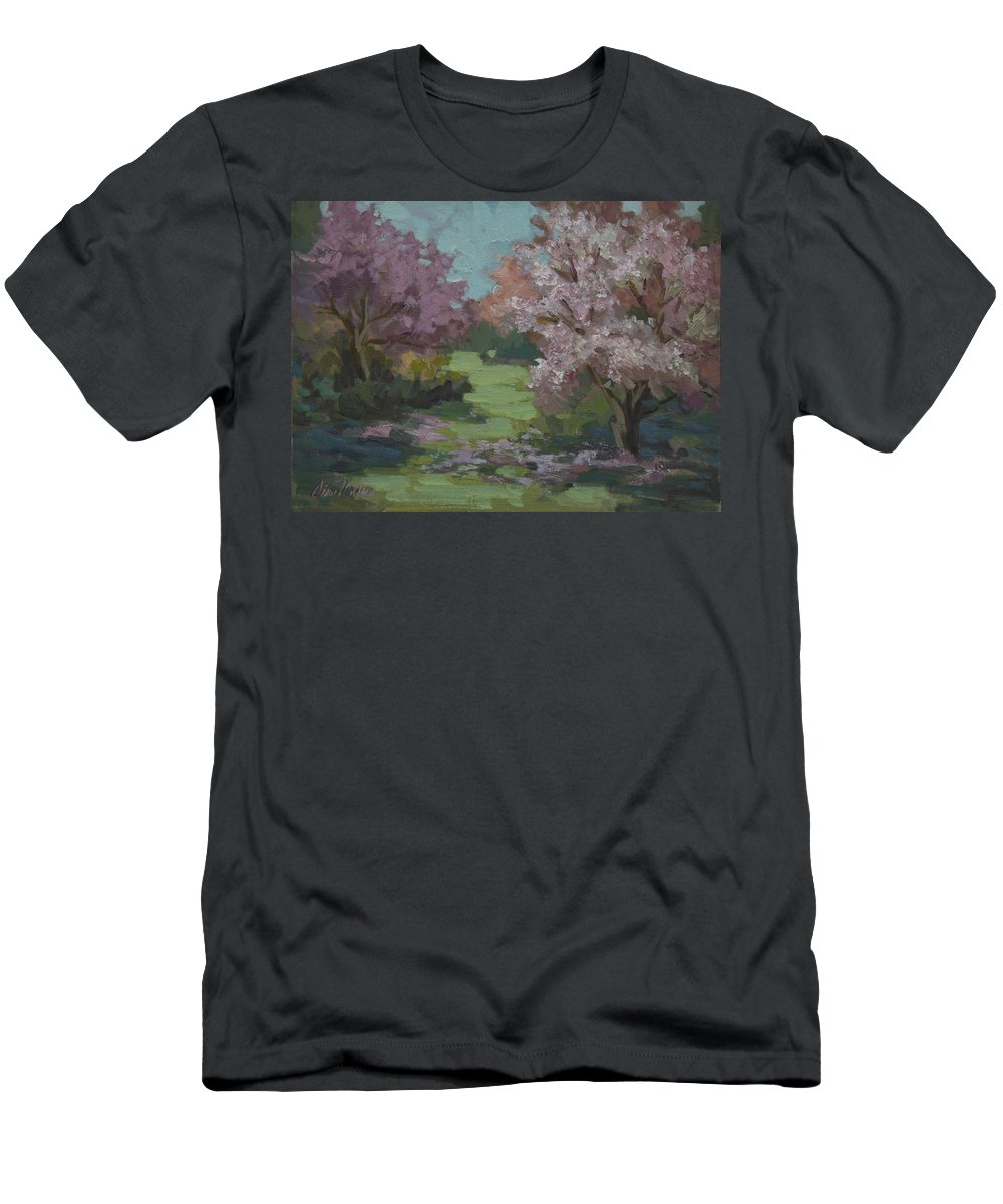 Cherry Trees Men's T-Shirt (Athletic Fit) featuring the painting Cherry Blossoms by Diane McClary