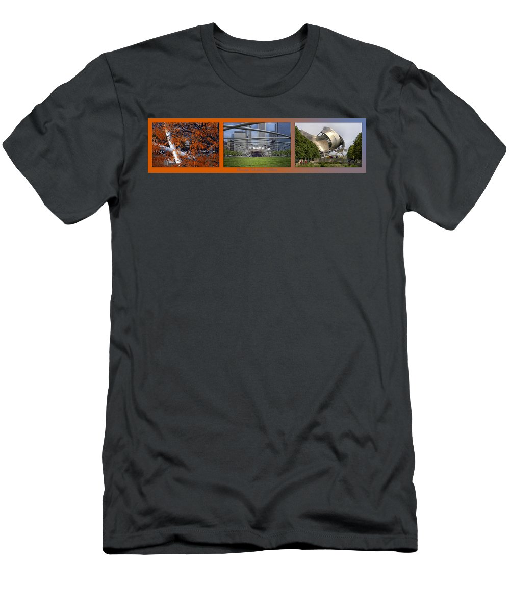 Chicago Men's T-Shirt (Athletic Fit) featuring the photograph Chicago Pritzker Music Pavillion Triptych 3 Panel by Thomas Woolworth