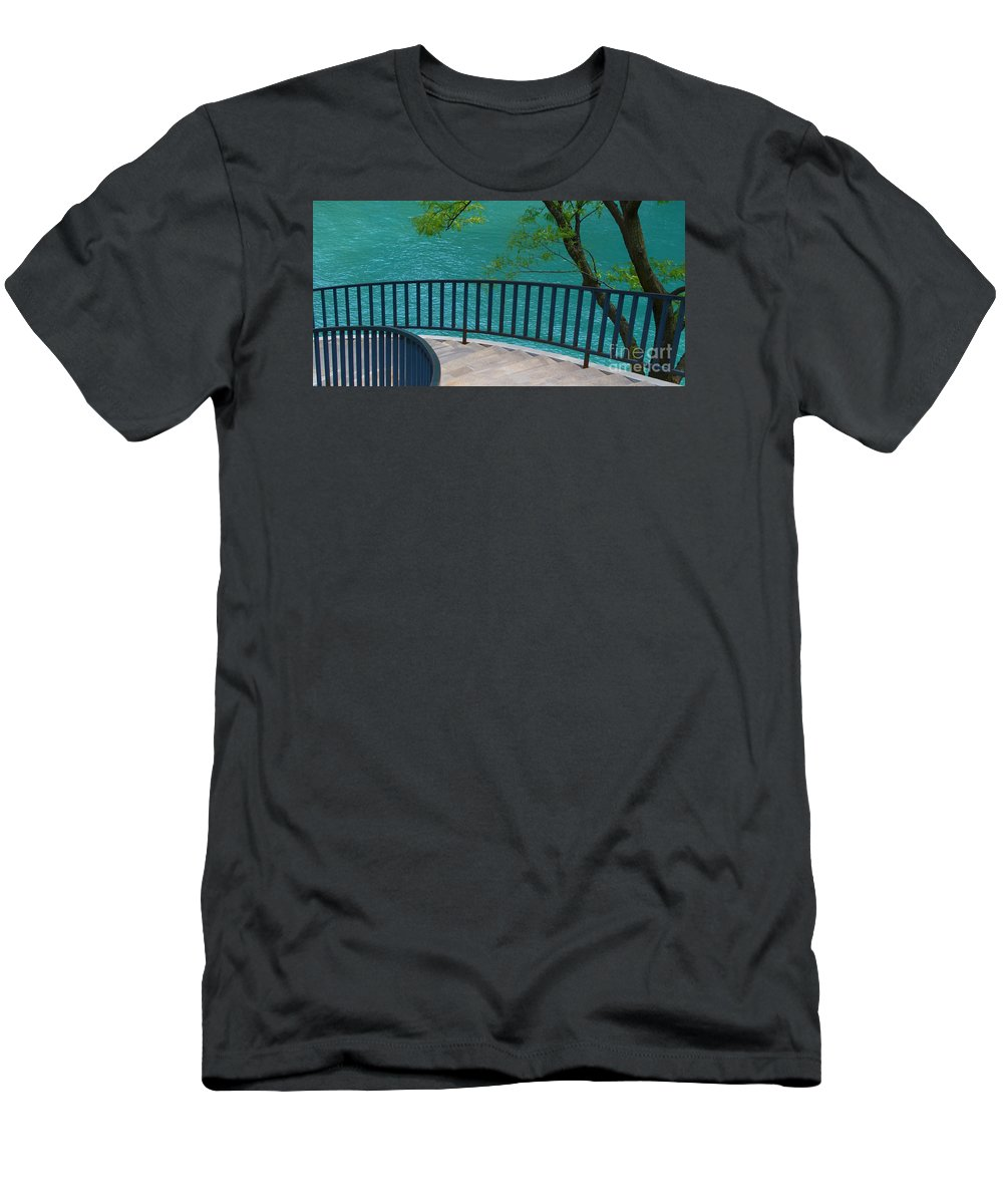 Chicago River Men's T-Shirt (Athletic Fit) featuring the photograph Chicago River Green by Ann Horn