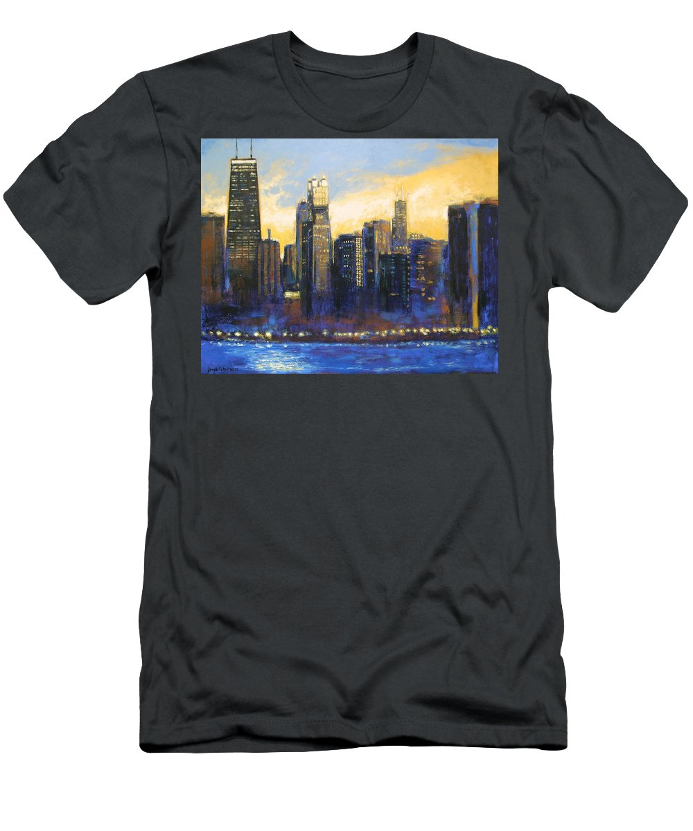 Chicago Skyline Men's T-Shirt (Athletic Fit) featuring the painting Chicago Sunset Looking South by Joseph Catanzaro