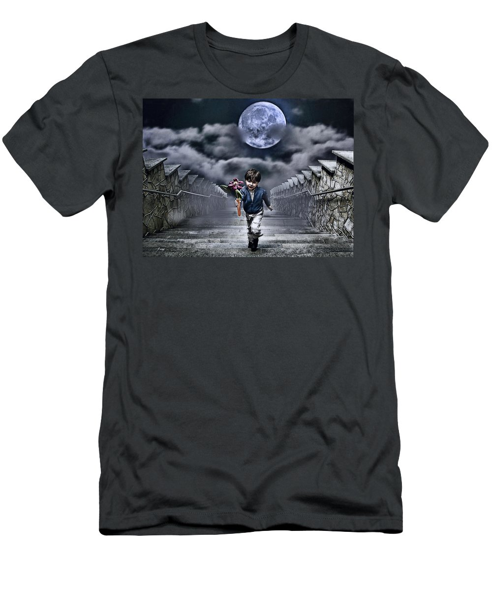 Boy Men's T-Shirt (Athletic Fit) featuring the photograph Child Of The Moon by Joachim G Pinkawa