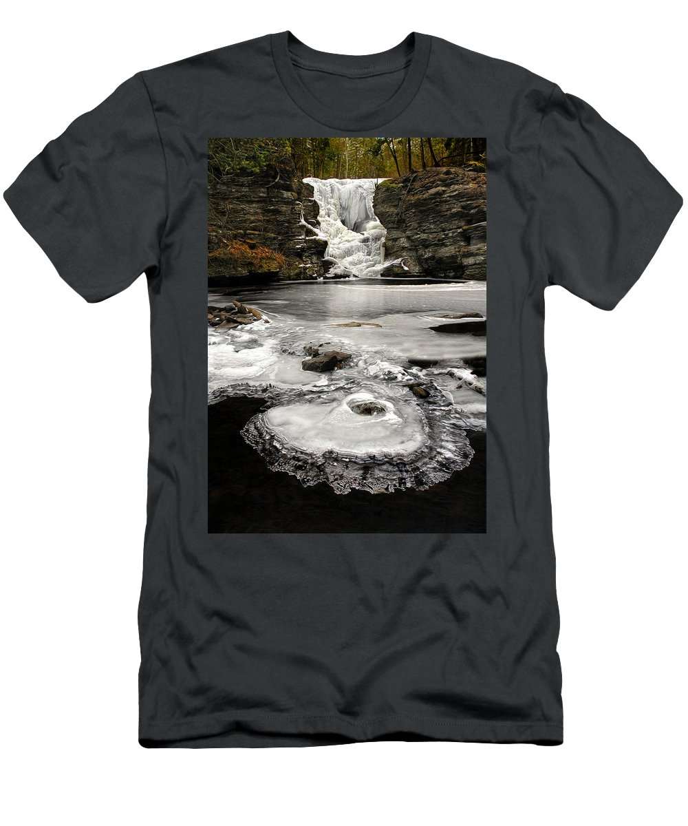 Childs State Park Men's T-Shirt (Athletic Fit) featuring the photograph Childs Park Winter by Dave Mills