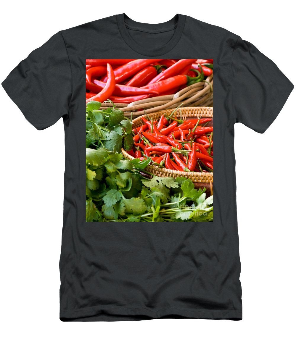 Basket Men's T-Shirt (Athletic Fit) featuring the photograph Chillies 04 by Rick Piper Photography