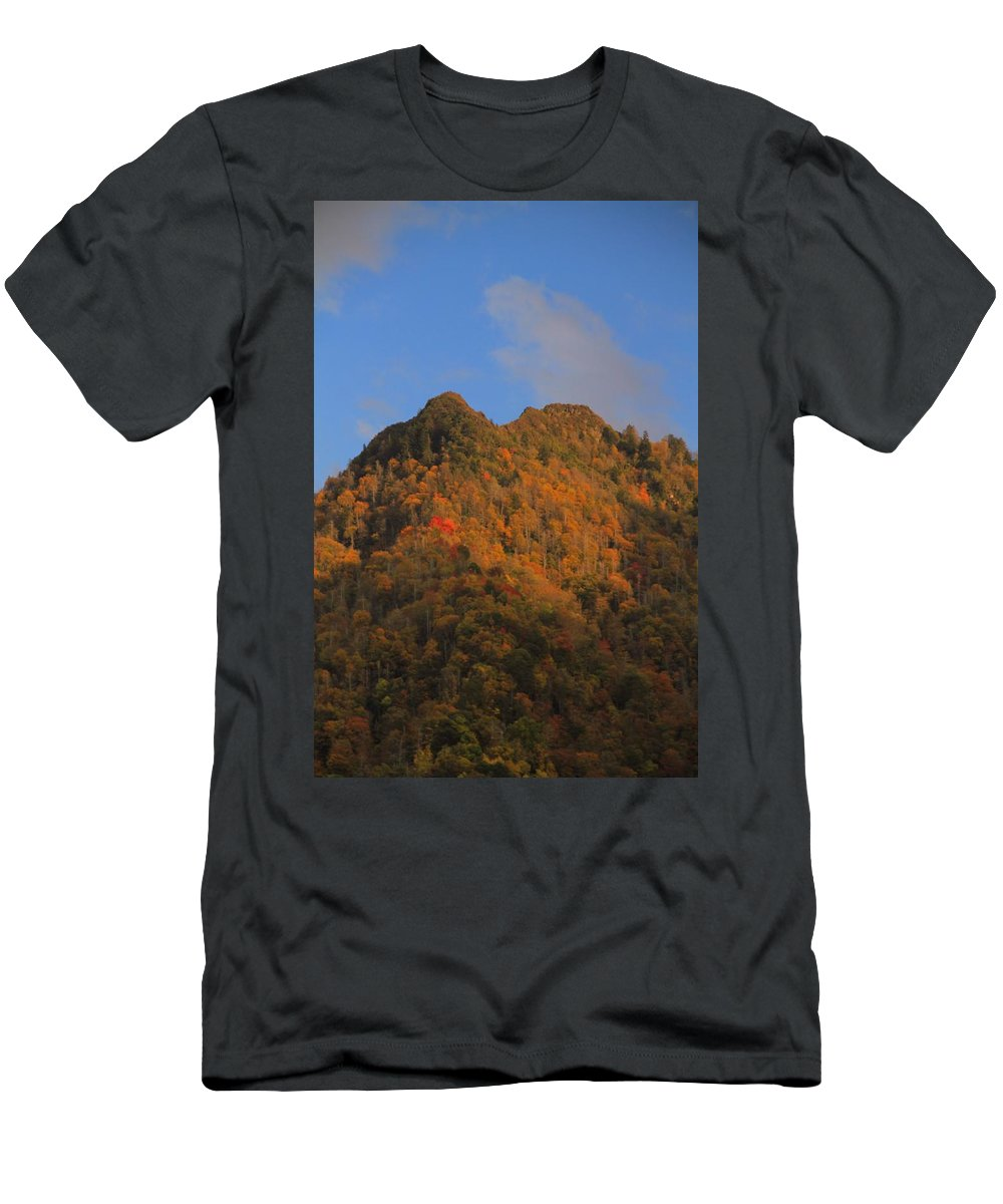 Chimney Tops In Smoky Mountains Men's T-Shirt (Athletic Fit) featuring the photograph Chimney Tops In Smoky Mountains by Dan Sproul