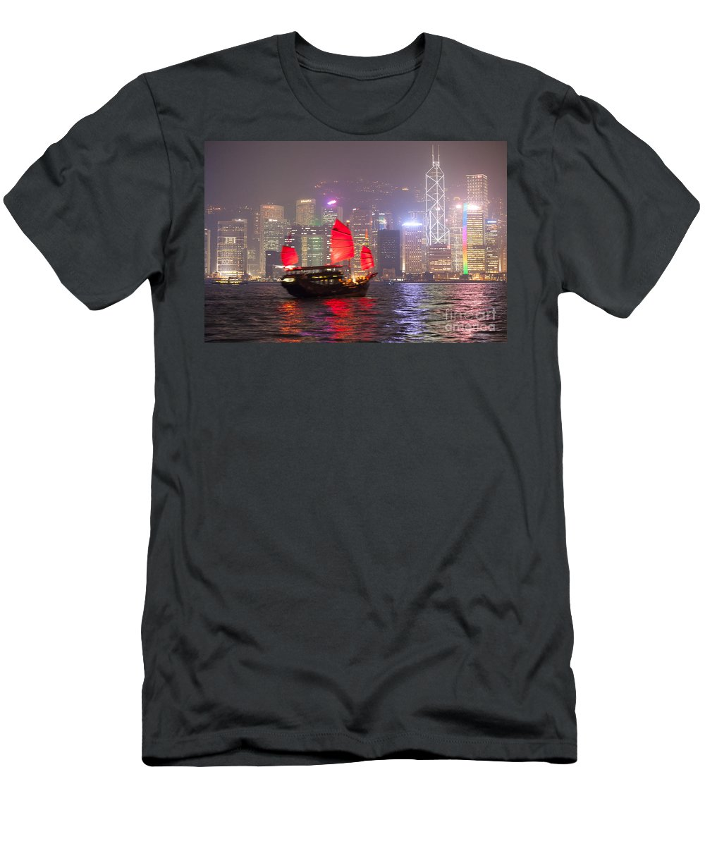 China Men's T-Shirt (Athletic Fit) featuring the photograph Chinese Junk Sail In Hong Kong Harbor At Night by Matteo Colombo