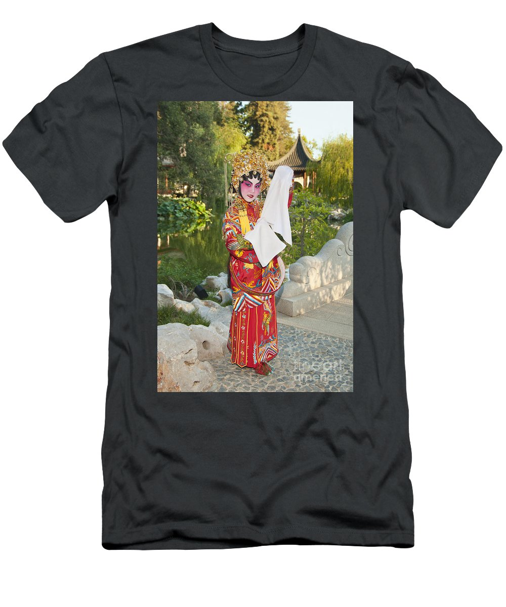 Chinese Opera Men's T-Shirt (Athletic Fit) featuring the photograph Chinese Opera Girl - In Full Traditional Chinese Opera Costumes. by Jamie Pham