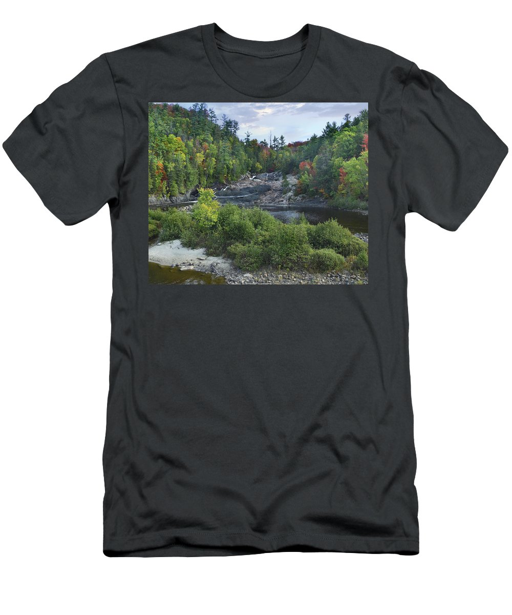 Feb0514 Men's T-Shirt (Athletic Fit) featuring the photograph Chippewa River Ontario Canada by Tim Fitzharris