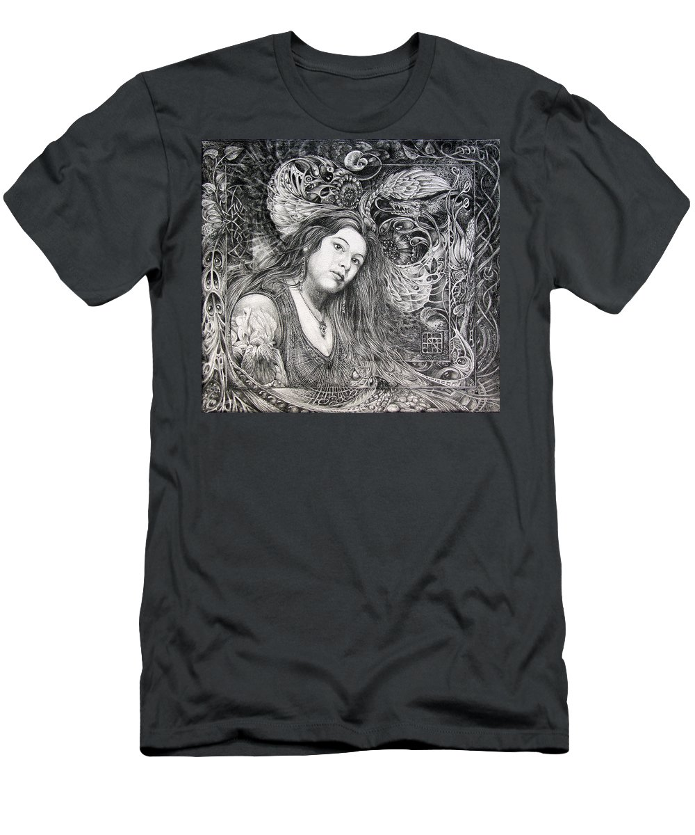 Portrait Men's T-Shirt (Athletic Fit) featuring the drawing Christan Portrait by Otto Rapp
