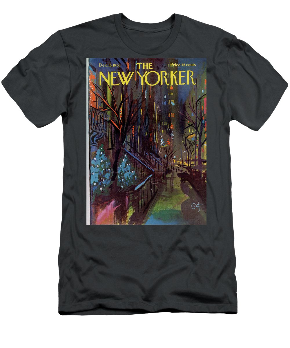 Christmas Xmas Holiday Urban City Manhattan New York City Tree Decoration Decorations Arthur Getz Agt Sumnerok Artkey 49880 Topgetz Men's T-Shirt (Athletic Fit) featuring the painting Christmas In New York by Arthur Getz
