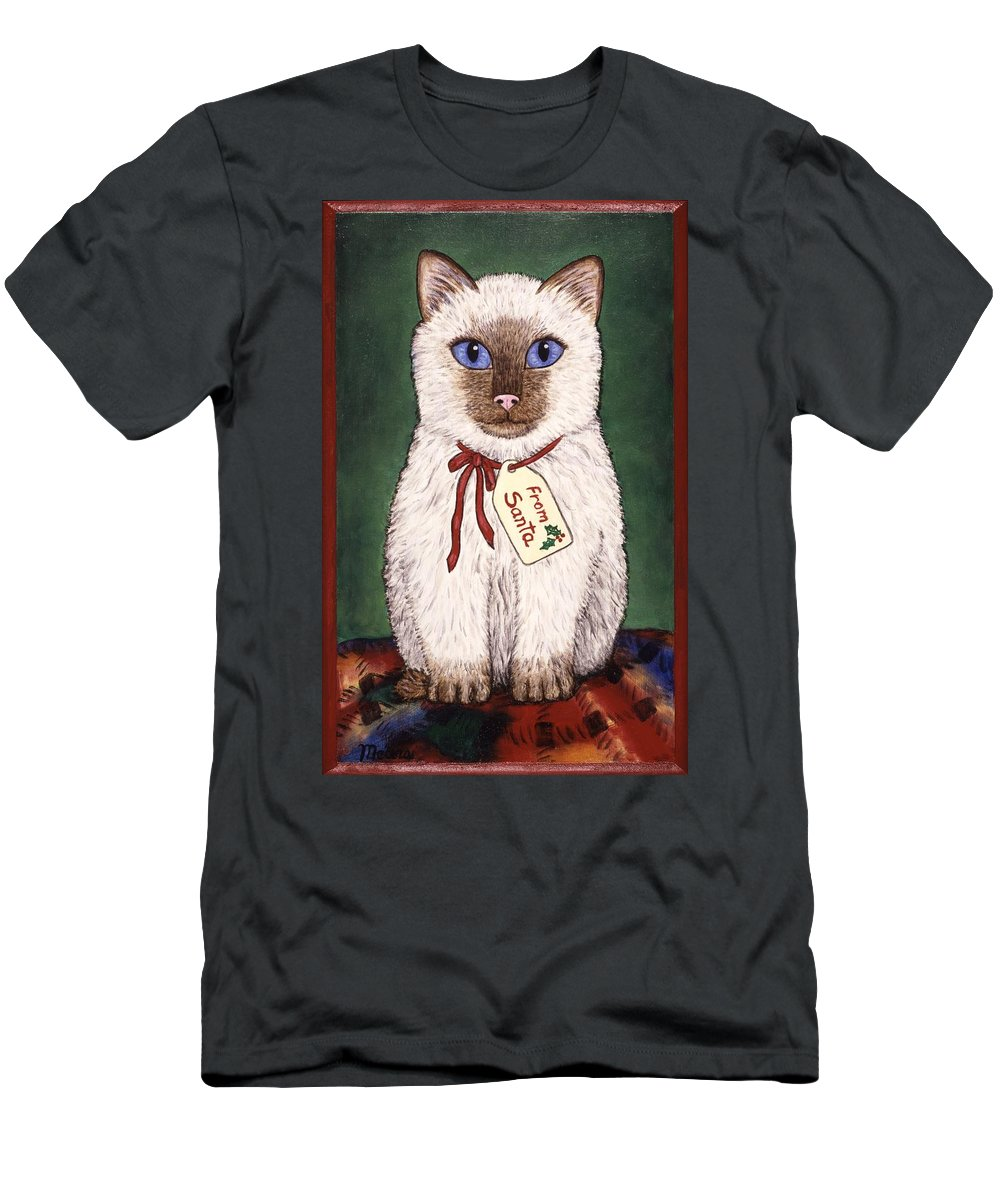Kittens Men's T-Shirt (Athletic Fit) featuring the painting Christmas Kitten by Linda Mears