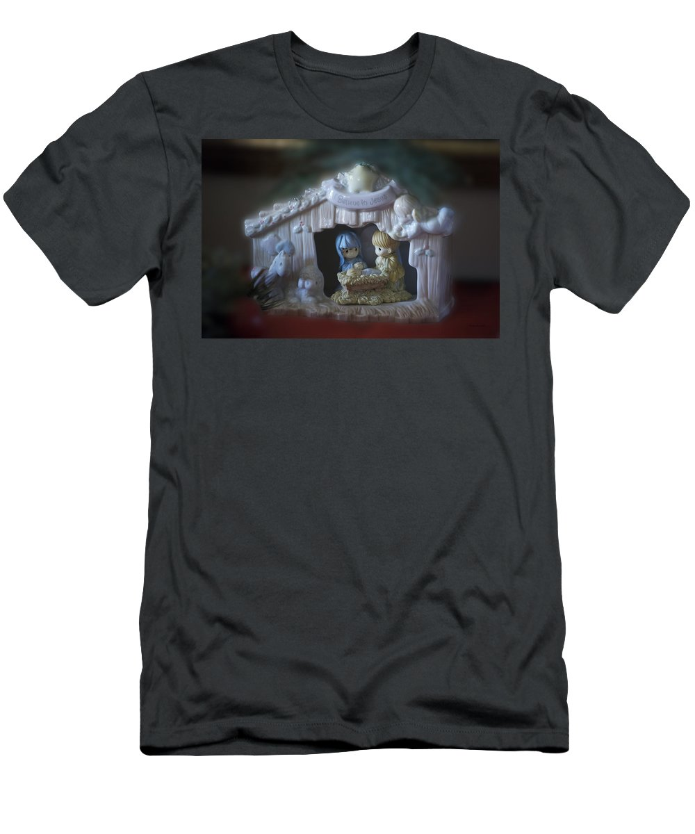 Jesus Men's T-Shirt (Athletic Fit) featuring the photograph Christmas Nativity Scene by Thomas Woolworth