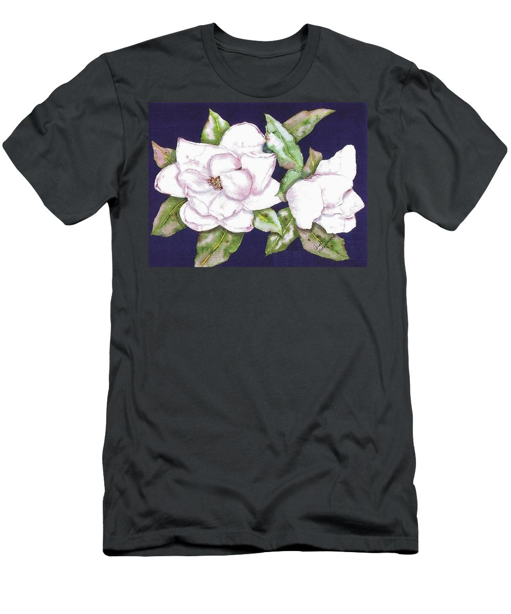 Magnolias Men's T-Shirt (Athletic Fit) featuring the painting Christy's Wedding Magnolia by Carol Lindquist