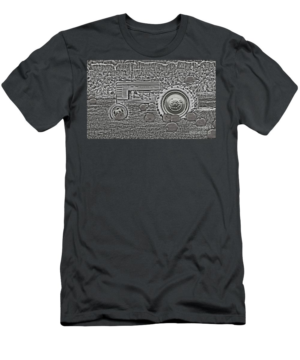 John Deere Men's T-Shirt (Athletic Fit) featuring the photograph John Deere On The Farm Monochromatic Chrome Finish by Minding My Visions by Adri and Ray