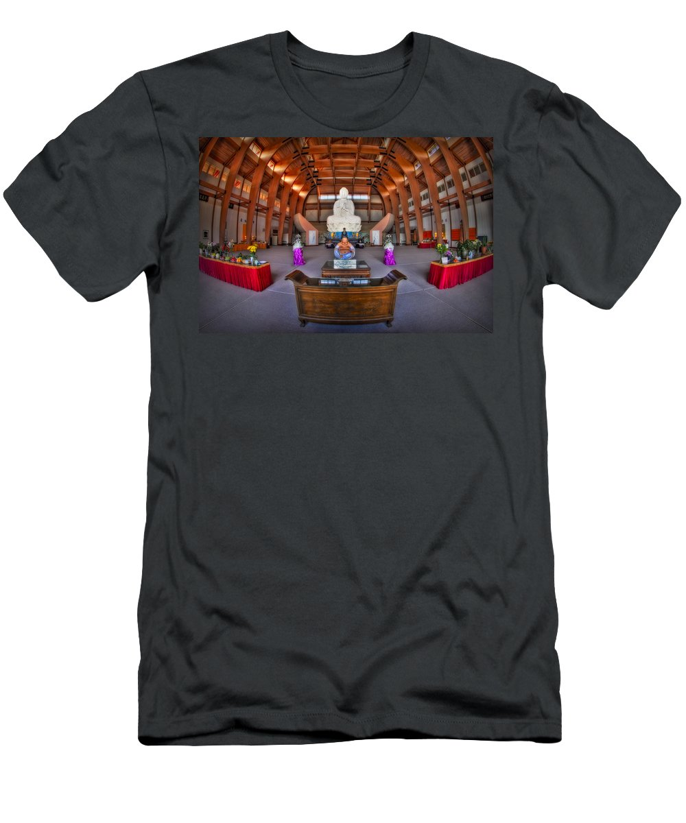 Budda Men's T-Shirt (Athletic Fit) featuring the photograph Chuang Yen Buddhist Monastery by Susan Candelario