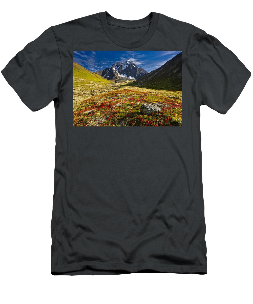 Alaska Men's T-Shirt (Athletic Fit) featuring the photograph Chugach Autumn by Carl R Battreall