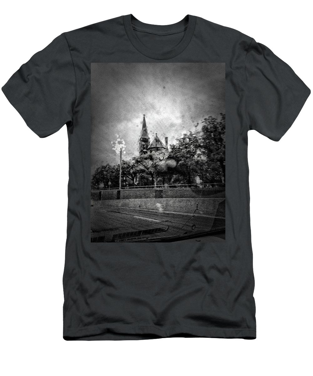 Rain Men's T-Shirt (Athletic Fit) featuring the photograph Church In The Rain by H James Hoff