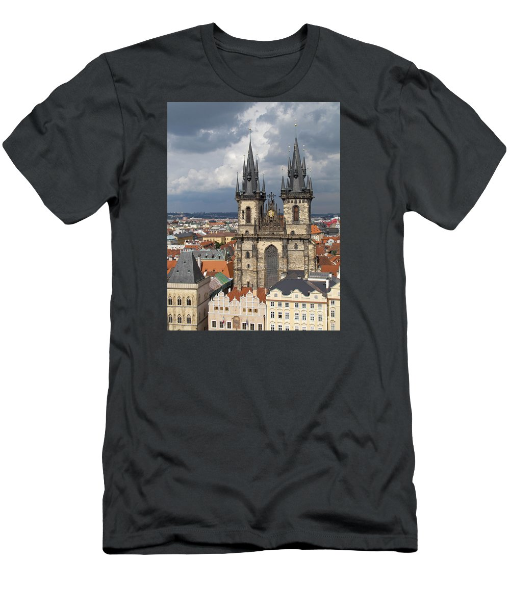 Prague Men's T-Shirt (Athletic Fit) featuring the photograph Church Of Our Lady Before Tyn - Prague by Ann Horn